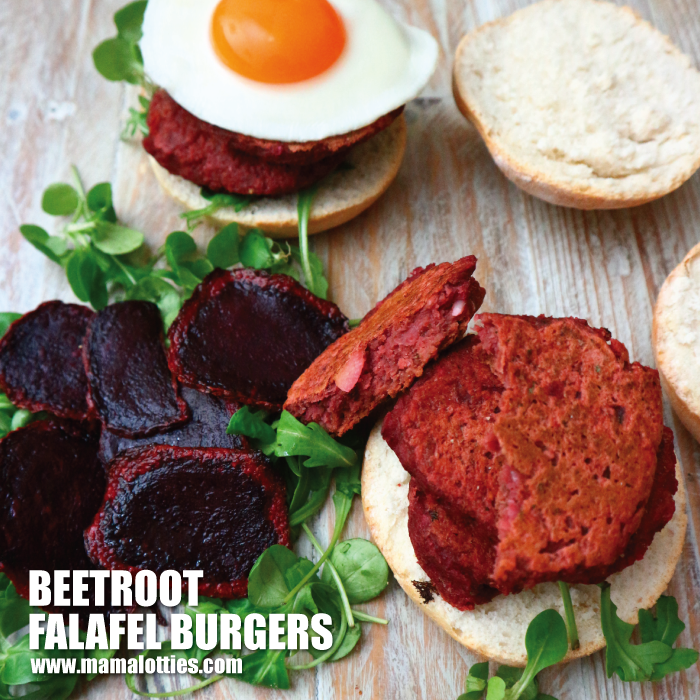 beetroot falafel burger